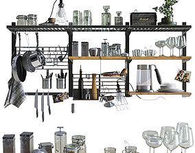 wok 3D model Kitchen decor set