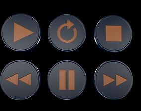 Low poly player buttons 3D asset