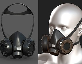 3D model Gas mask respirator military combat fantasy