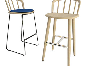 Nym Wooden Bar Stools 3D model