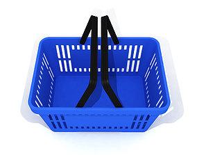 Blue plastic shopping basket for 3D model