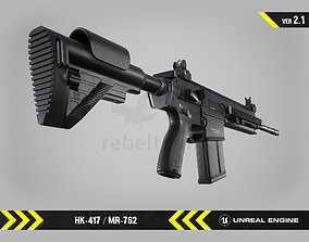 HK417 - MR762 - Animated FPS Weapon for Unreal 3D model