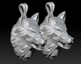 angry wolf low poly pendant 3D print model