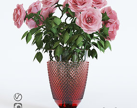 Pink roses 3D model