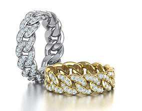 3D printable model DIAMOND Cuban Link Chain Ring 5