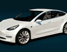 rigged Tesla Model 3 3D Model