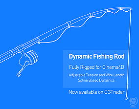 3D asset Dynamic Fishing Rod - Fully Rigged for Cinema4D