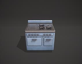 3D asset Light Blue Vintage Stove