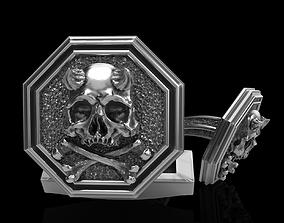 3D print model skull cufflinks