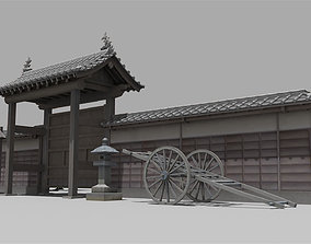 Gate of the temple in Japan typeA 3D asset low-poly