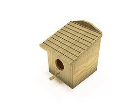 3D asset Wooden birdhouse 1