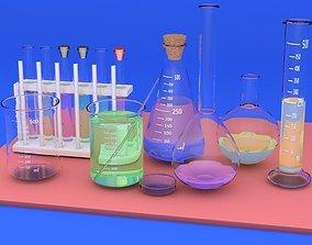 Flasks for chemistry 3D model