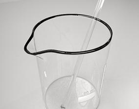 3D model 150 ml Glass Beaker with Rod