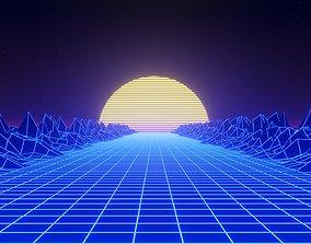 Retrowave 80s style 3D Scene Blender EEVEE animated