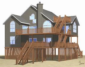 3D model Summer Beach House Exterior 01