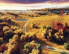 Autumn wilderness scene 3D