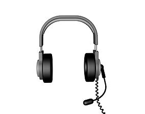 plastic 3D model game-ready headphones