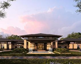 3D model Chinese neoclassical hotel