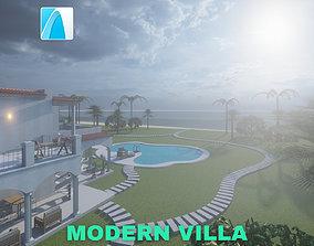 3D Modern Villa with Private Pool on Beachfront Scene -