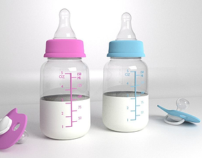 Babies Bottle and Dummy 3D