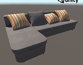 Sofa With Pillows 3D model game-ready