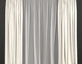 3D model Curtains with tulle