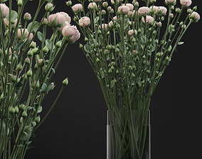 Bouquet of small beige shrub roses in a vase with 3D model