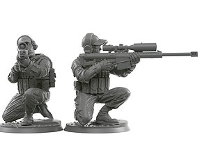 3D printable model Sniper squad 28 - 40 mm scale