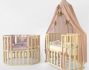 cot 3D model Oval crib Letto Bambini Elegante ivory