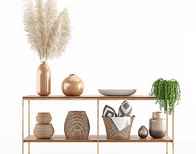 decorative set with pampas and wicker basket 3D PBR