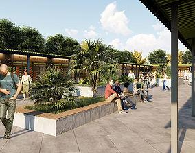 Outdoor Market Area High Quality Exterior Scene 3D model 1