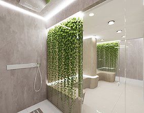 Sauna and Shower with plant wall rendered in Corona 3DS 1