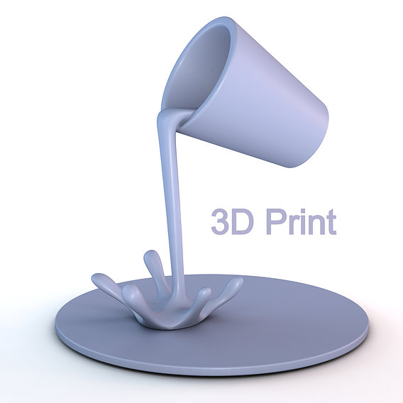 Floating cup 3d printable model - pouring water