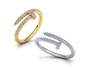 French Pave setting arrow ring 3dmodel N0301