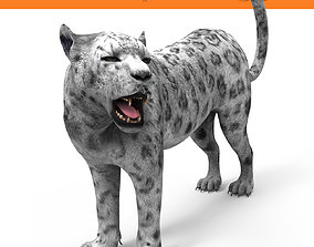 animated Rigged and Animated White Leopard 3D