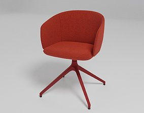 GRACE - Swivel trestle-based fabric chair with armrests 3D