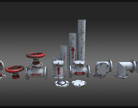 Industrial Pipes Kitbash 3D model