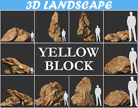 3D asset Low poly sharp blocky Yellow rock formation