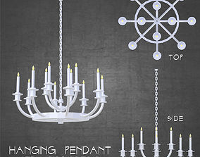 3D asset Ceiling hung medieval candle pendant chandelier 1