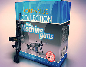Low poly light machine guns collection 3D model