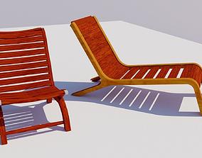 garden chairs 3D asset