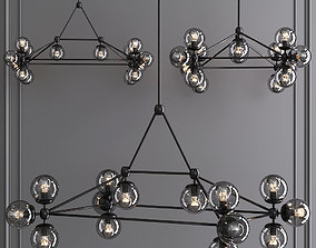Modo Rectangle Chandelier 14 Globes Black and 3D model 2
