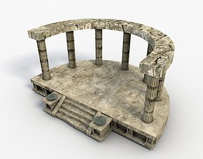 3D model Low poly temple altar