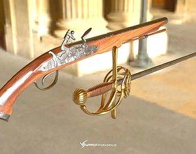 Flintlock Pistol and Rapier Sword 3D model realtime