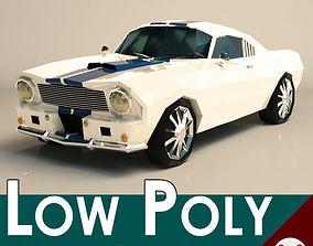 Low Poly Muscle Car 02 3D asset