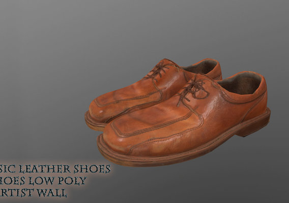 Classic Leather Shoes VR AR low-poly 3d model