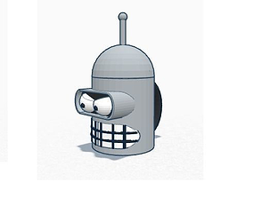 3D print model Bender cup with antenna straw