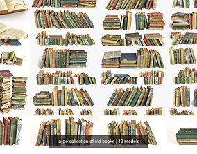large collection of old books 3D