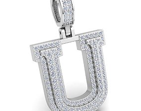 Alphabet Latter U Diamond Pendent 3d Model print