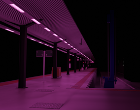 metro 3D model Train Station